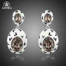 AZORA 2015 el Último Diseño Encantador Oval Huevo Stellux Austrian Crystal Pave Pendientes de Gota para Las Mujeres TE0204