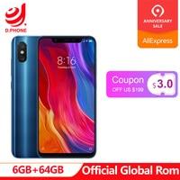 Официальный Глобальный Встроенная память Xiaomi mi 8 mi 8 мобильный телефон 6 ГБ оперативная 64 Встроенная Snapdragon 845 Octa Core 6,21