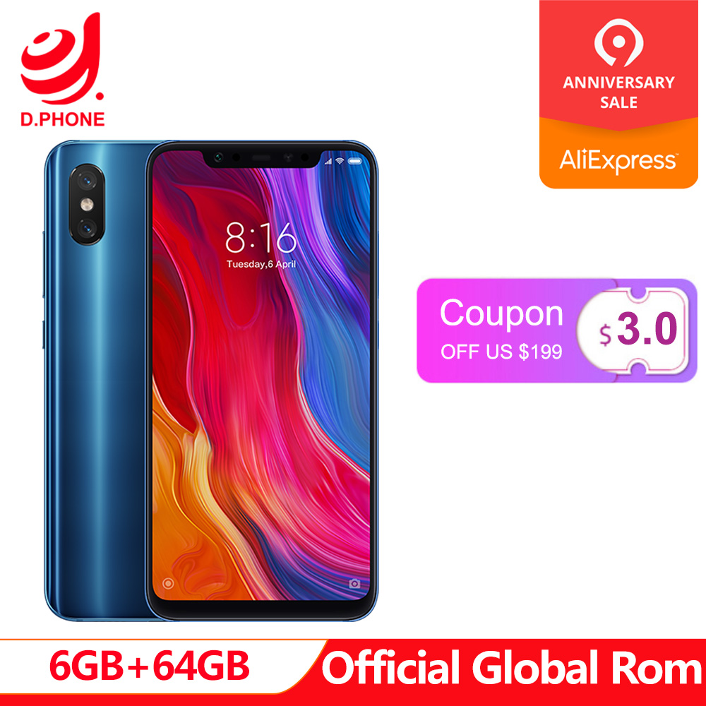 Rom officielle mondiale Xiao mi mi 8 mi 8 téléphone portable 6 GB RAM 64 GB ROM Snapdragon 845 Octa Core 6.21