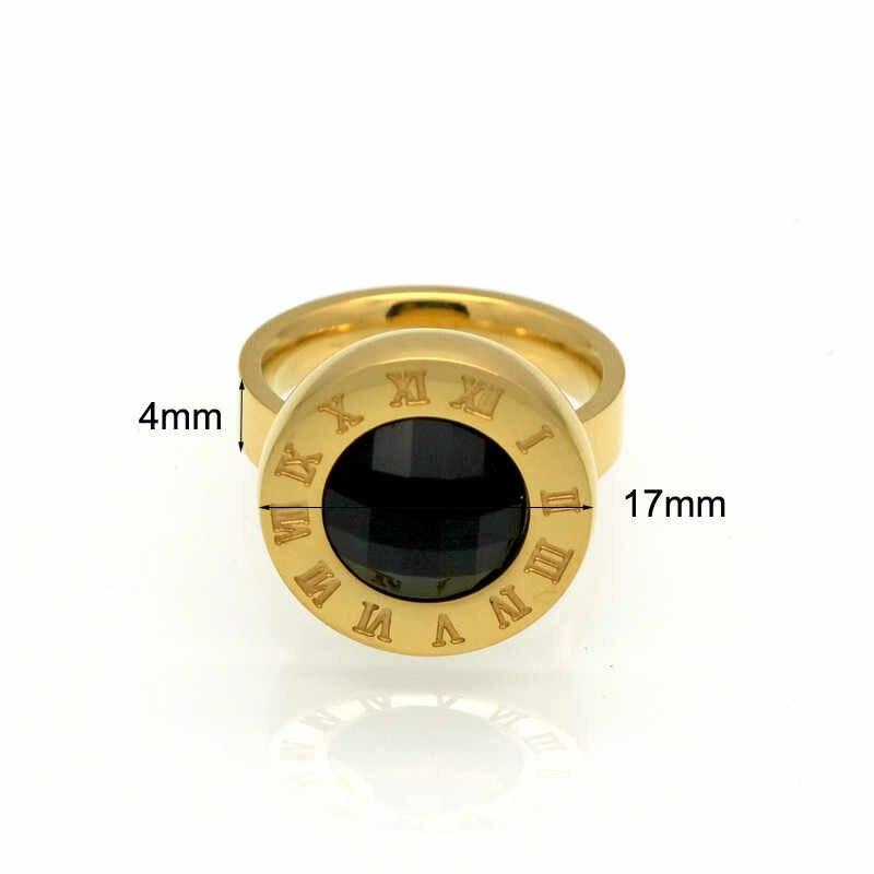 JSBAO Новое модное кольцо с круглым римским буквенным Черным Камнем, обручальное кольцо для женщин, ювелирные изделия, оптовая продажа