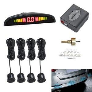 Image 1 - Radar de marcha atrás Universal de cinco colores para la temperatura del coche con cuatro sensores, sistema de monitorización de Radar de marcha atrás, pantalla de retroiluminado con LED