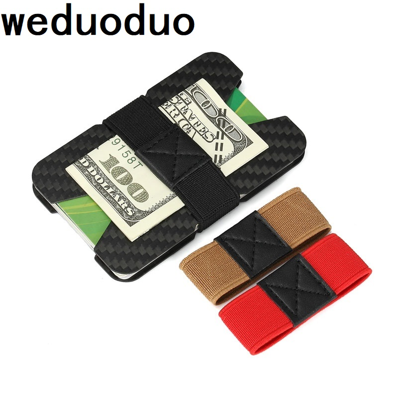 7ff274d52 Fibra de carbono tarjeta de crédito RFID bloqueo Delgado monedero Travel Id  frente minimalista bolsillo hombres carteras tarjeta de visita