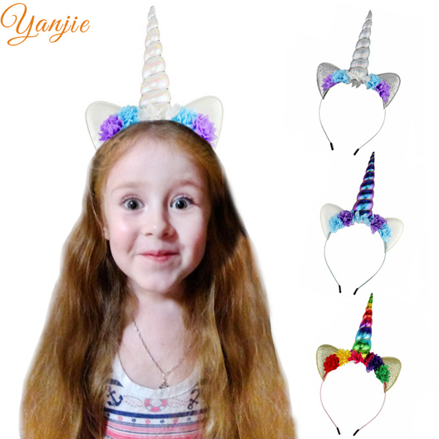 Glitter Metallic Unicorn Headband Girls 2018 Chiffon Flowers Hairband For Kids Rainbow Unicorn Horn Party Hair Accessories