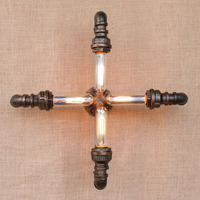 4 лампы железная водопроводная труба винтажная Лофт настенная лампа с Эдисоном/светодиодные лампы для прихожей/спальни/гостиной/ванной ком