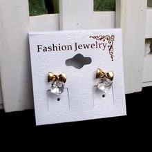 100pcs/lot Kraft Fashion Jewelry Earring Card 5x4.7cm Paper Craft PVC White Hang Tag Displays