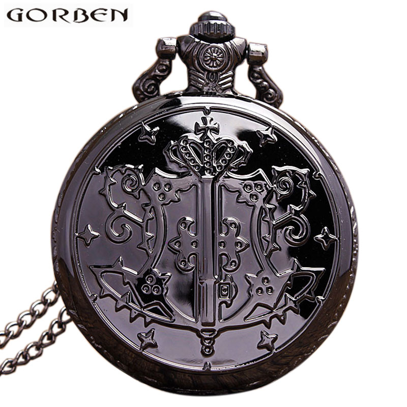Japan Anime Kuroshitsuji Black Butler Pocket Watch NecklaceMetal Case Fob Quartz Clock Chain Pendant  For Women Men Gift