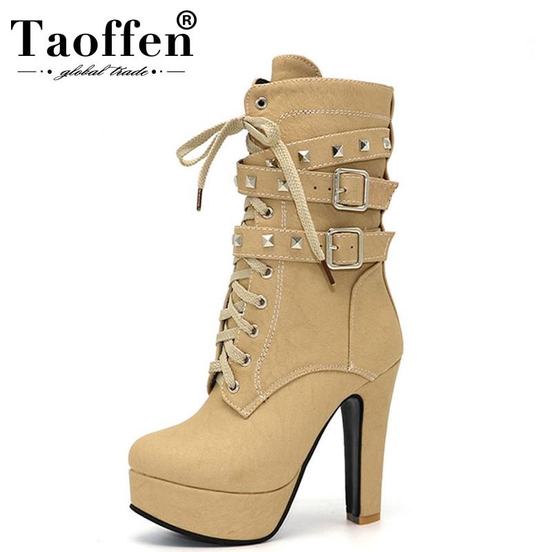 TAOFFEN Women Shoes Women Boots Middle Calf Winter Shoes Plush Zipper Rivets High Heeled Casual Fashion