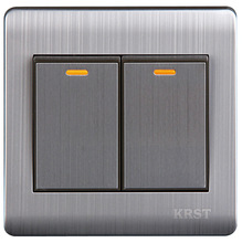 Wall Switch 2 Gang 1 Way 86Type Brushed Stainless Steel Panel 10A AC110-250V