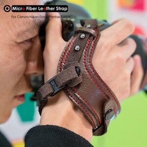 Image 1 - Fotoğraf kamera mikro Fiber deri bilek kayışı DSLR el kemer tutucu darbeye dayanıklı sapanlar Canon Nikon Sony Pentax için Leica