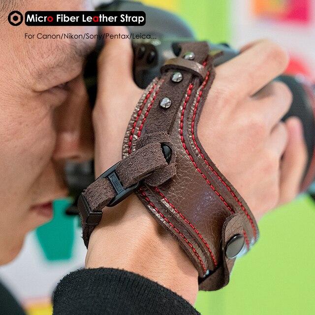 Fotoğraf kamera mikro Fiber deri bilek kayışı DSLR el kemer tutucu darbeye dayanıklı sapanlar Canon Nikon Sony Pentax için Leica
