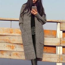2018 Autumn Women Open Stitch Pocket Decoration Fashion Thick Casual Long Keep Warm Loose Knit Sweater Puff Sleeve Cardigan Coat
