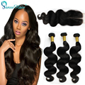 Virgin Malaysian Hair Bouncy Body Wave 3Bundle Deals With Closure 4*4 Peerless Virgin Hhair Wet And Wavy Weave Aliexpress Coupon