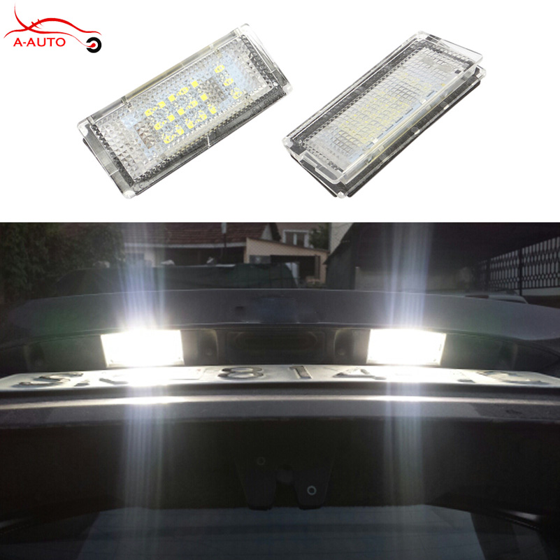 цены  2 x Error Free Auto License Plate Light 18 LED 3528 LED 6000K White Lamp For BMW E46 4D 323i 325i 328i 330i 99-03