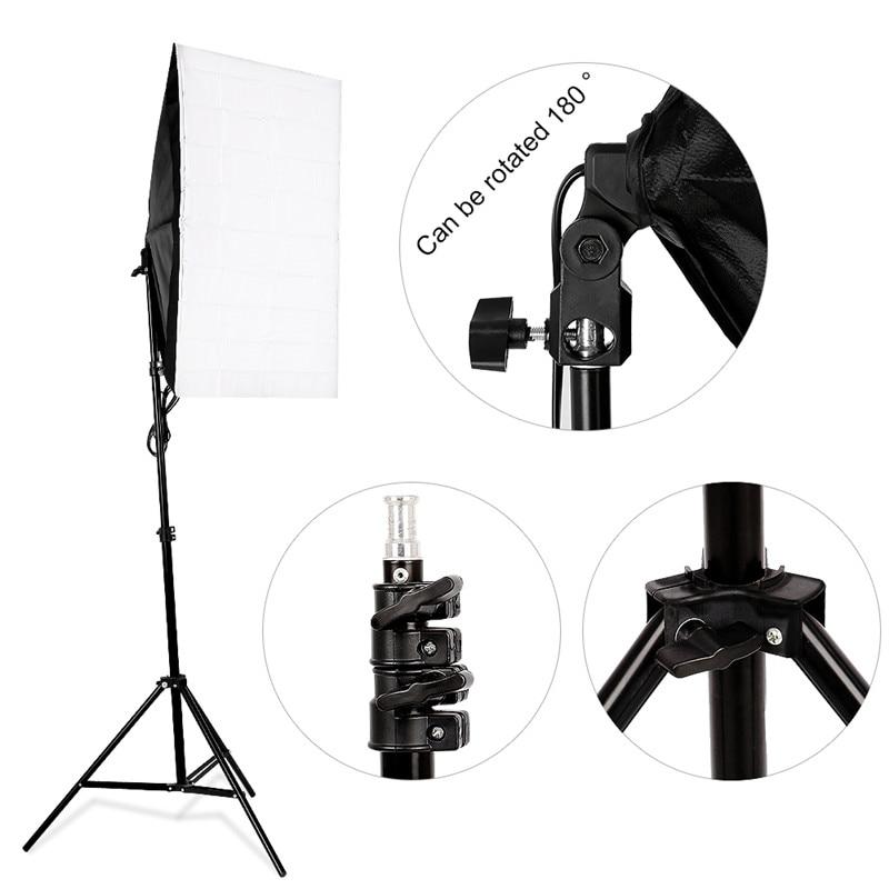 Photo Studio Light Set 2 x 135W 5500K Bulb Continuous Lighting Kit 50x70cm Softbox Photography Set 2M Light stand With Carry Bag все цены
