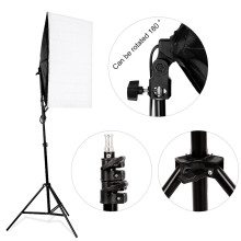 Photo Studio Light Set 2 x 135W 5500K Bulb Continuous Lighting Kit 50x70cm Softbox Photography Set 2M Light stand With Carry Bag 50 70cm continuous lighting softbox 4 lamp holder cross bar double pulley horizontal arm photography kit 45w 5500k bulbs 4pcs