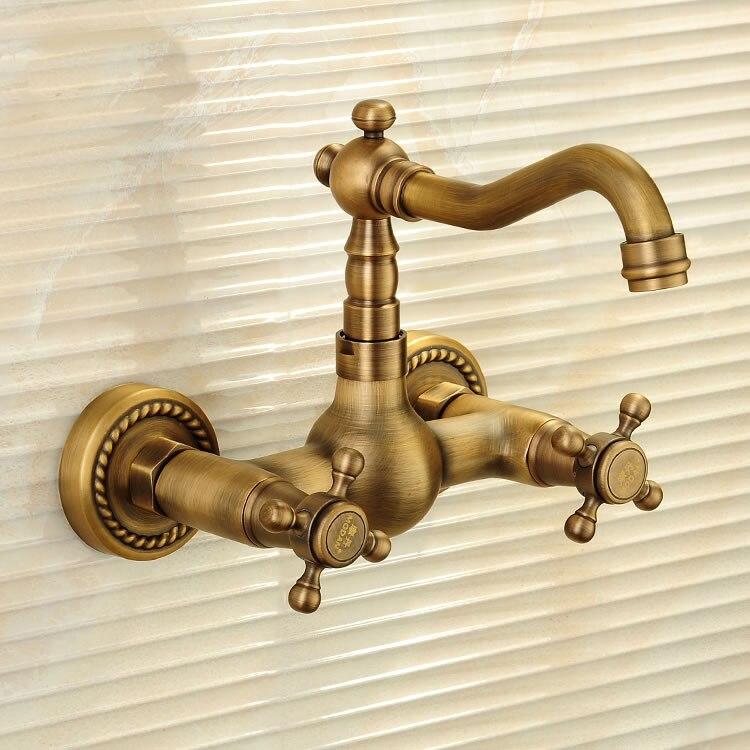 Wall Antique 360 Swivel Antique Copper Double Handle Swivel Spout Kitchen Mixer Faucets Solid Brass Basin Mixer Faucet