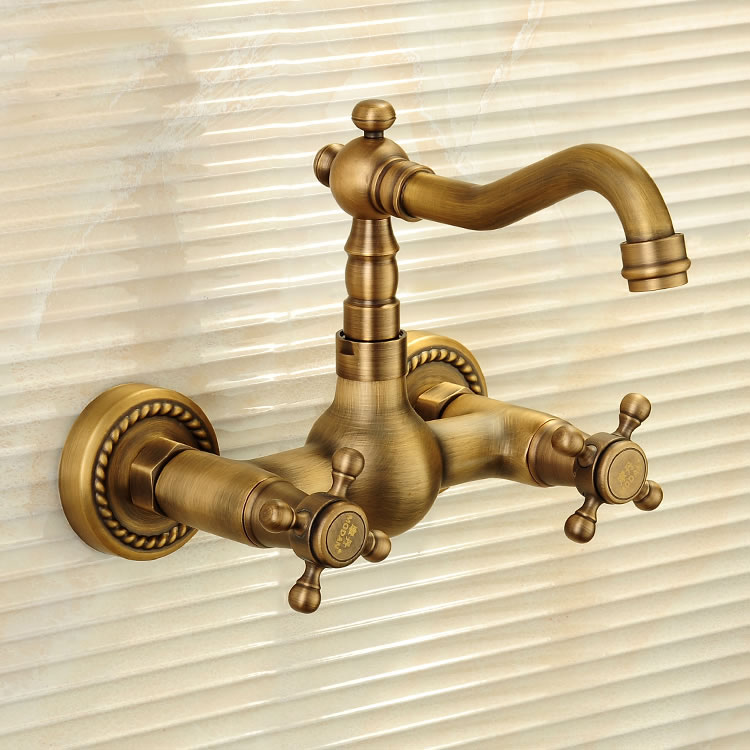 Wall Antique 360 Swivel Antique Copper Double Handle Swivel Spout Kitchen Mixer Faucets Solid Brass Basin Mixer Faucet