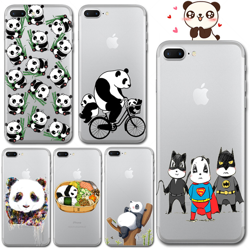 Cute Fun Animals Panda Soft TPU Phone Case For iPhone 7 Plus 5 5S SE 6 6S Plus Super Hero Cover Pattern Cell Fundas Silicone