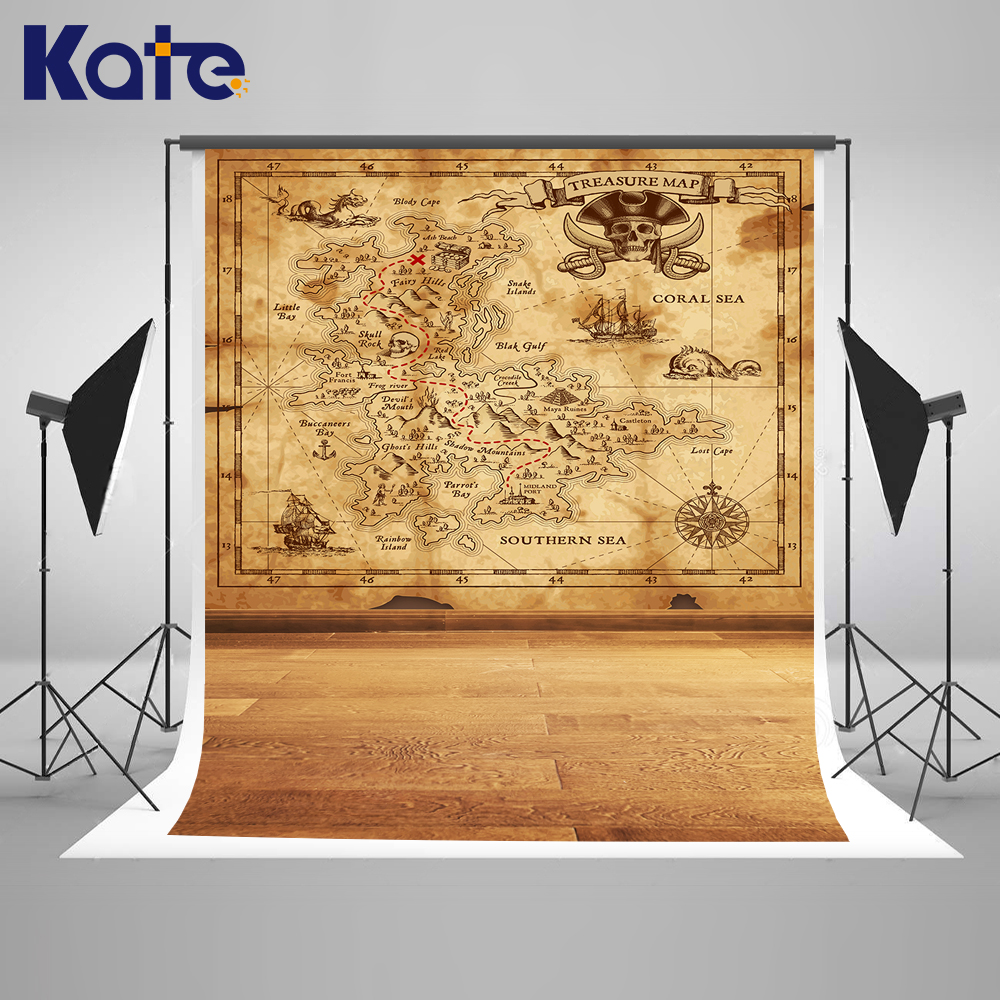 Kate 10x20FT Pirate Map Backdrops Solid Color Wood Floor Background Newborn Photography Photo for Children Photography Shoot kate photo background newborn birthday photography background lollipop and cake table backdrop for children photo shoot