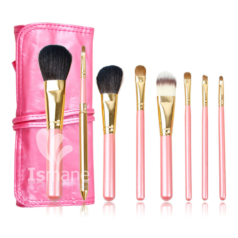 ISMINE 8Pcs Makeup Brush Set Cosmetic Brushes Pink Wood Handle Nylon Kolinsky Hair Professional Make up Brushes with Leather Bag vander 8pcs professional rose pink