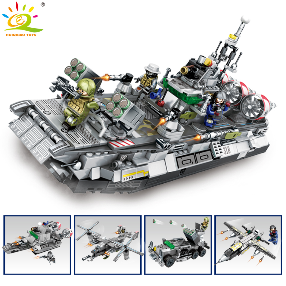 701pcs 4in1 military naval ship Boat Building Blocks Compatible Legoed Military soldier with weapon Bricks set Toys For children lepin 22001 pirate ship imperial warships model building block briks toys gift 1717pcs compatible legoed 10210