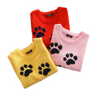 2 7Y Baby Girlss Sweaters Kntting Cotton Casual Kids Girls Pullovers Spring Autumn Winter Lovely Paw
