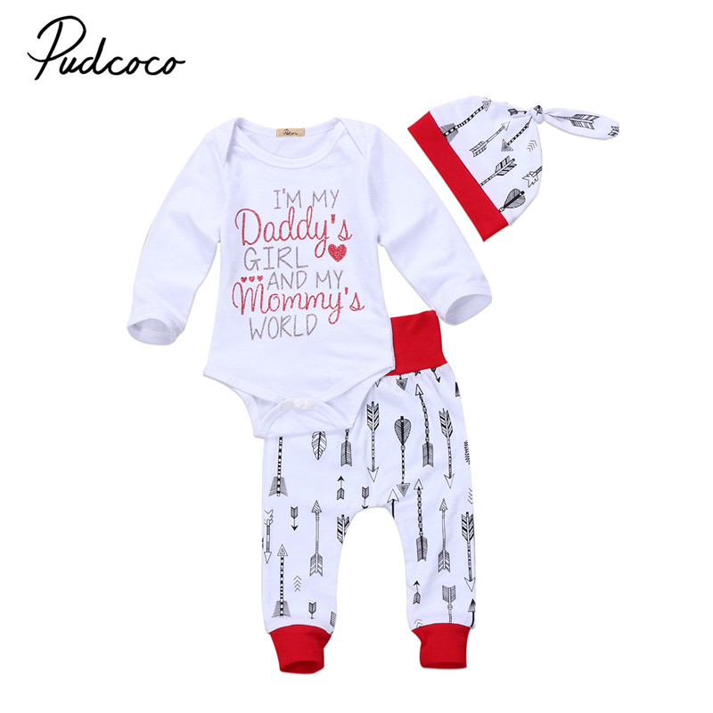 Pudcoco 0-24M Newborn Baby Girls Clothes Long Sleeve Top Romper Long Pants Headband 3pcs Outfits Baby Clothing Set
