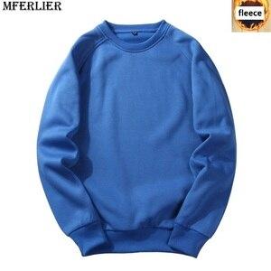 Image 3 - Homens Camisolas de lã quente 5XL MFERLIER 6XL tamanho grande tamanho grande outono cor sólida Camisolas pulôver de algodão casaco sem capuz preto