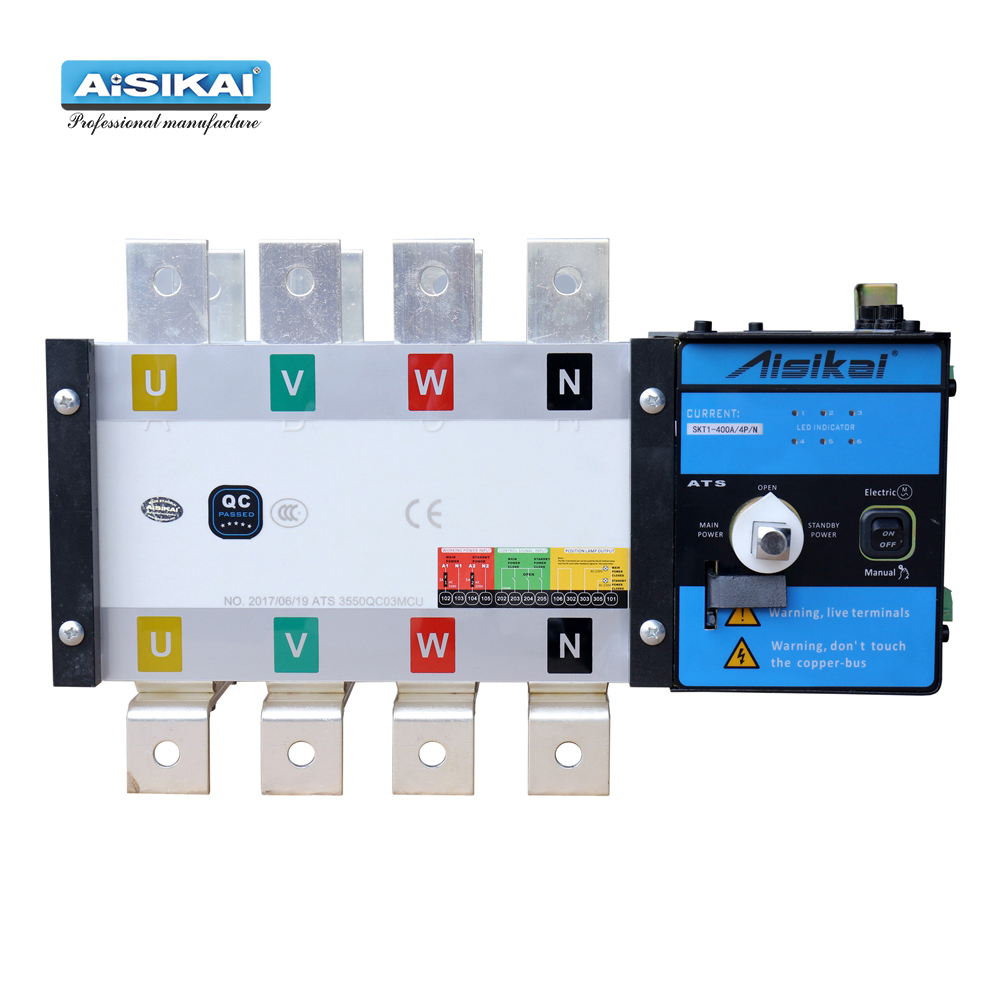 AISIKAI SKT1-400A/ 4P ATS dual power diesel generator parts electric control curcuit breaker single three phase ac Automatic TraAISIKAI SKT1-400A/ 4P ATS dual power diesel generator parts electric control curcuit breaker single three phase ac Automatic Tra
