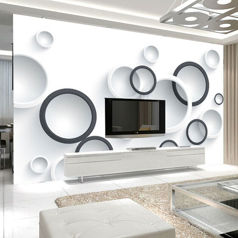 Custom 3D Stereo Mural Wallpaper Modern Black And White Circles Photo Wall Paper Office Study 3D Room Landscape Papel De Parede