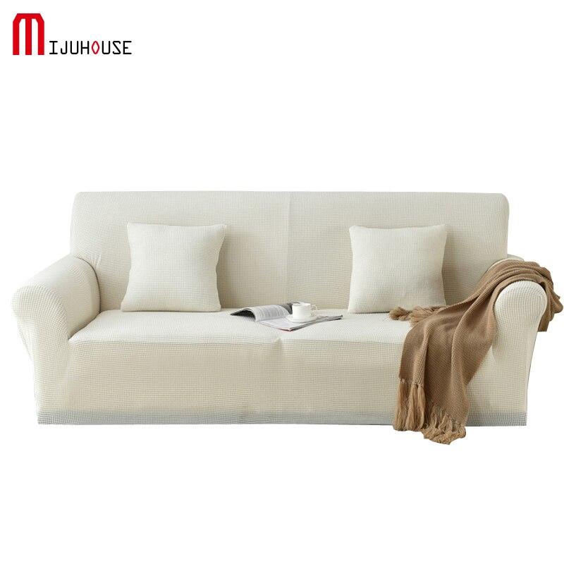 Nouveau Polaire Canapé Couverture Tricot Extensible Tissu De Mode Extensible Housses Canapé Coussin Canapé Étui de protection Blanc Couleur