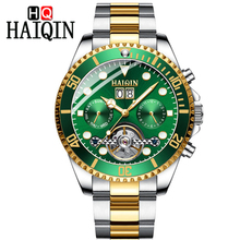 HAIQIN Hot Brand Men Watch Mechanical Bussiness steel Waterproof Male Wrist Tourbillon Relogio Masculino Relojes Man