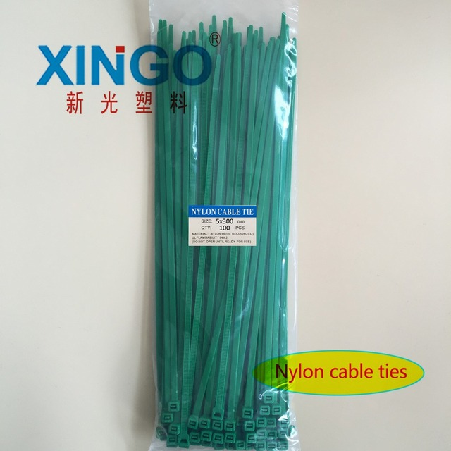 10621b6469e6 Nylon Cable Ties 100Pcs/pack 5*300mm High Quality width 3.6mm GREEN Color