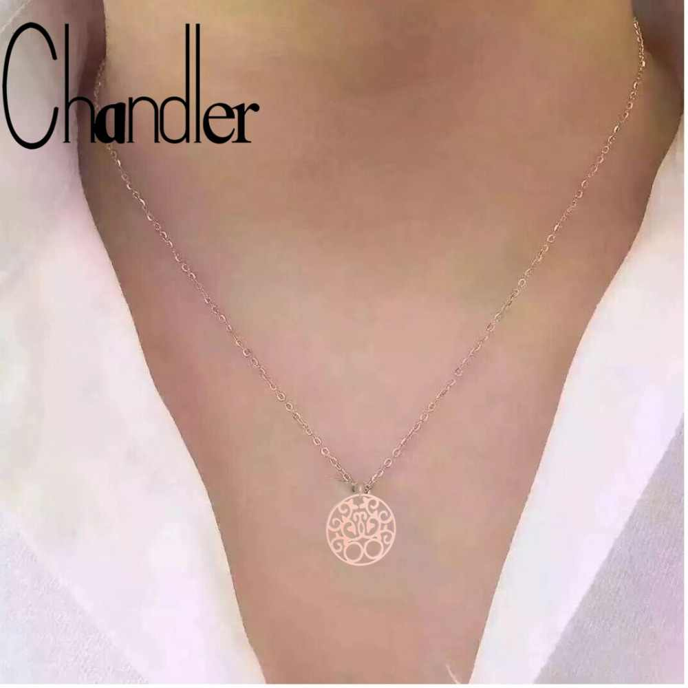 Chandler Rose Gold Karma Necklace Simple Thin Chain Necklaces Minimalist Colier Musilm Religious Jewelry Stainless Steel Chokers