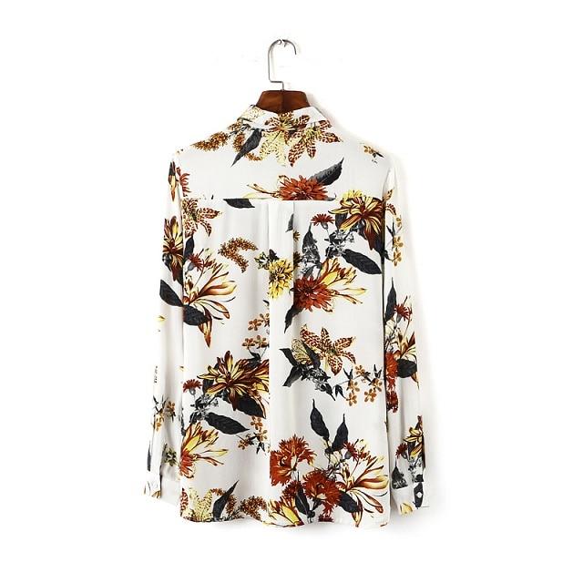 Floral Mode Blouse Rabattu À Ec5521 Col Casual Imprimé Multi Longues Dames Chemise Femmes Belle Chemises Manches Vintage Blouses wftZf