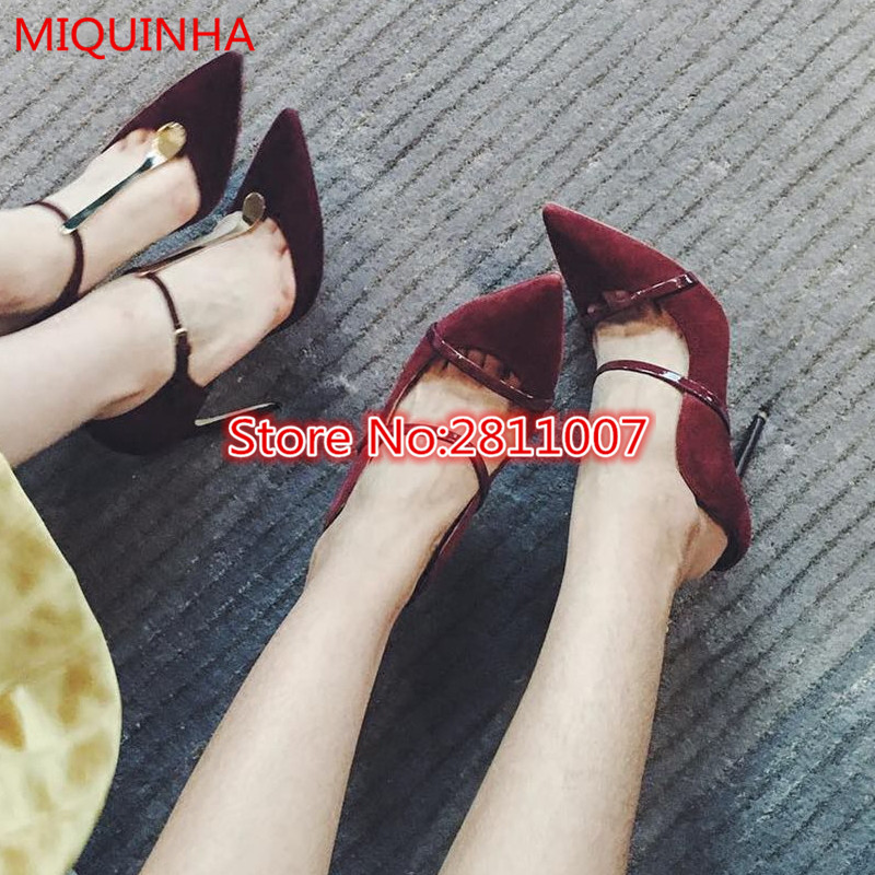 ФОТО Wine Red Suede Leather Double Straps Women Pumps Runway Style Pointed Toe Slip On Spring Summer Slingback Party Shoes Woman