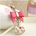 Free Shipping Metal Animal Cockhorse Keychain Horse Key Chain Key Ring Women Bag Pendants