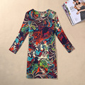 M-4XL Plus Size Women Dress Euro Style Casual Printing Long Sleeve Bodycon Dress O-neck female Dresses Elegant Tunic Vestidos