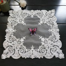Square 40cm European-style Coaster Insulation Fabric Placemat Embroidered Tea Set Fruit Plate Vase Pad Dining Coffee Table Mat