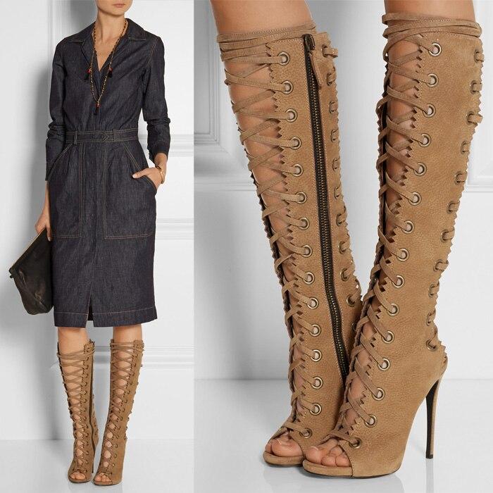 d304631bd48 US $174.64 |New 2018 Lace Up Gladiator Sandals Women Leather High Heel  Women Sandal Summer Shoes Woman Designer Sandals Fringe Heels Womens-in  Women's ...