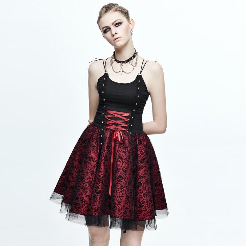 Robes de femmes gothiques mode diable robe de bal à lacets Rivets robes courtes noir et rouge Lolita robes à bretelles Spaghetti