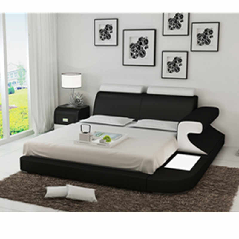 Hot Sale King/Queen Size red white top grain leather sofa bed set