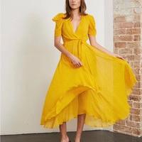 Bohemian Wind Yellow Small Floral Irregular dress Lining Skin Elegant Temperament Holiday Dress Woman 2019 V Neck Sashes Dress