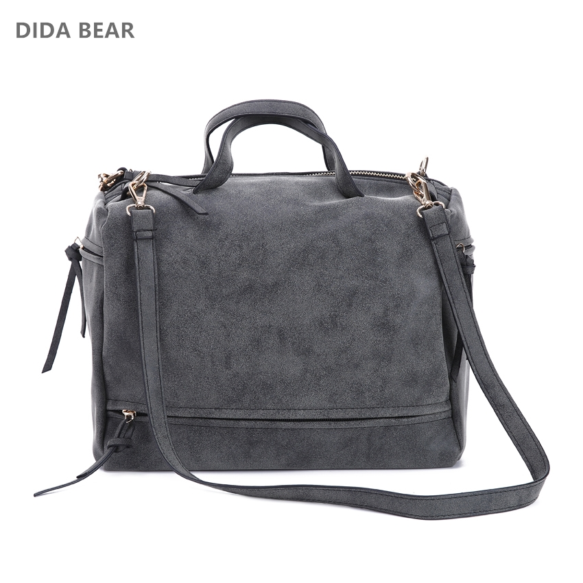 DIDA BEAR women handbag PU leather tote bag Retro shoulder messenger bags Tote Shopping bag green gray blue red Femme Sac a Main square pu tote bag