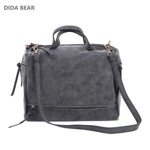 Image 2 - DIDA BEAR women handbag PU leather tote bag Retro shoulder messenger bags Tote Shopping bag green gray blue red Femme Sac a Main