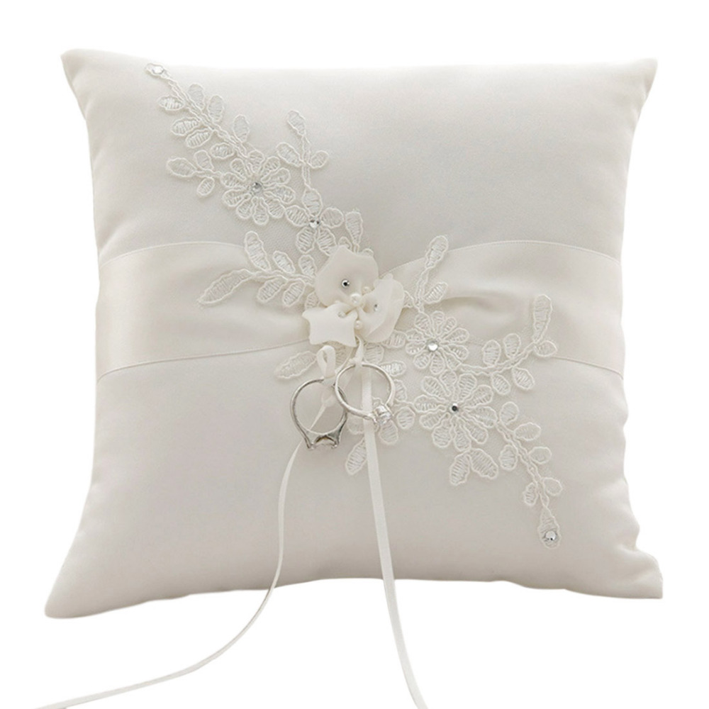 Wedding Ring Pillow Lace Flowers Wedding Ring Holder Marriage Ring Cushion Bearer Wedding Party Decoration Event Party Supplies
