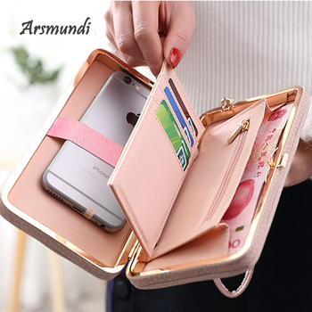 Arsmundi 2018 New Printing Bow Tie Long Wallet Multicolor High Capacity Ladies Mobile Phone Clutch Purse Women's Purse Carteira