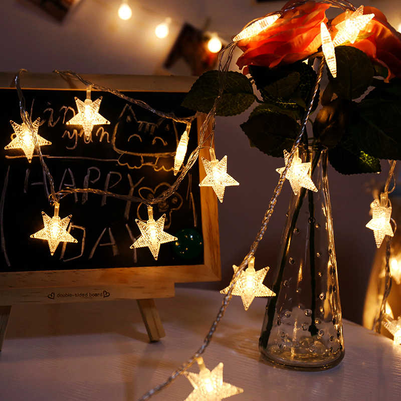 New Year 1.5M 10LEDs Star String Light LED Fairy Garland Waterproof For Christmas Tree Home Indoor Decoration AA Battery Powered