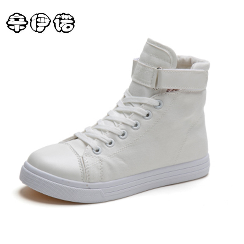 Women Promotion Canvas Shoes For 2017 Spring And Autumn Female High-top Pure Black White Classic Casual Footwear Size 35-40 new sexy vs045 1 6 black and white striped sweather stockings shoes clothing set for 12 female bodys dolls