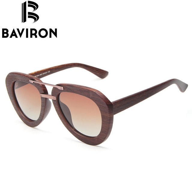 BAVIRON Envoltório De Madeira Óculos de Sol Unissex Óculos Ponte Dupla Polarizada Lentes Coloridas Óculos De Sol para Mulher Hipster Óculos B26069